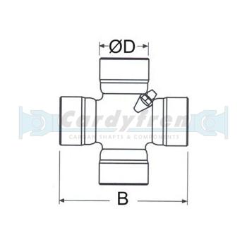 U.JOINT Ø 34,90 x 106,30 mm DANA SPICER 1480, SPL55 SERIES. SIDE LUBE, REF: SPL55-1X