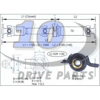 TRANSMISSION A CARDAN HONDA CRV 2012-2013 2080 mm
