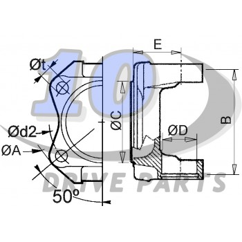 FLANGE YOKE 1310 SERIES. SAE Ø98,5/4-9,7. MALE SPIGOT Ø60,3mm. ORIGINAL DANA SPICER. REF: 2-2-329