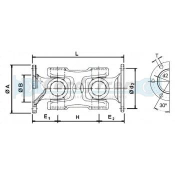 TRANSMISION CARDAN FIJO NUDO DOBLE ELBE 110 mm