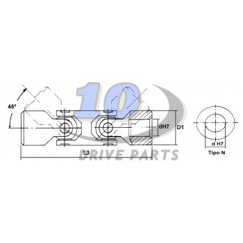 ARTICULACIÓN DOBLE A DIN808 SERIE 105 TIPO N 85 mm